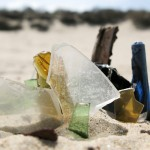 Collection of glass on a dune in Het Zwin, West Flanders, Belgium
